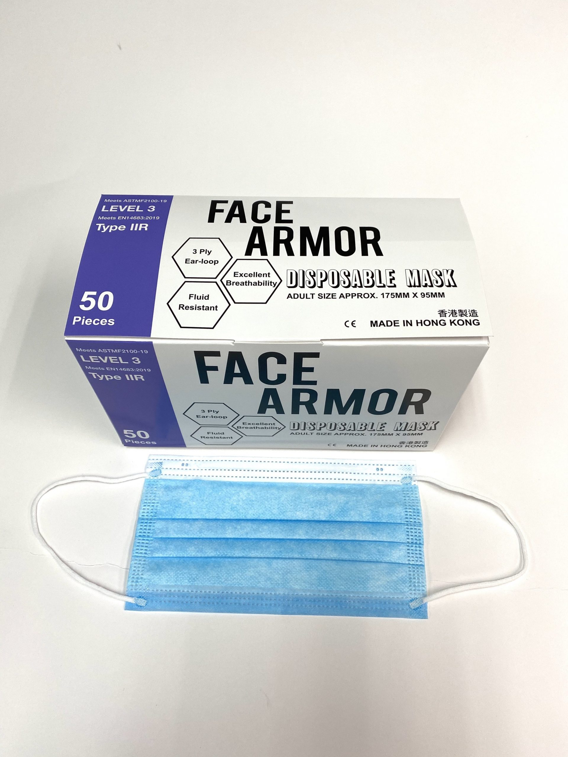 Face Armor Disposable Masks | ASTM LEVEL 3 | Made in Hong Kong| 50 PIECES | BLUE