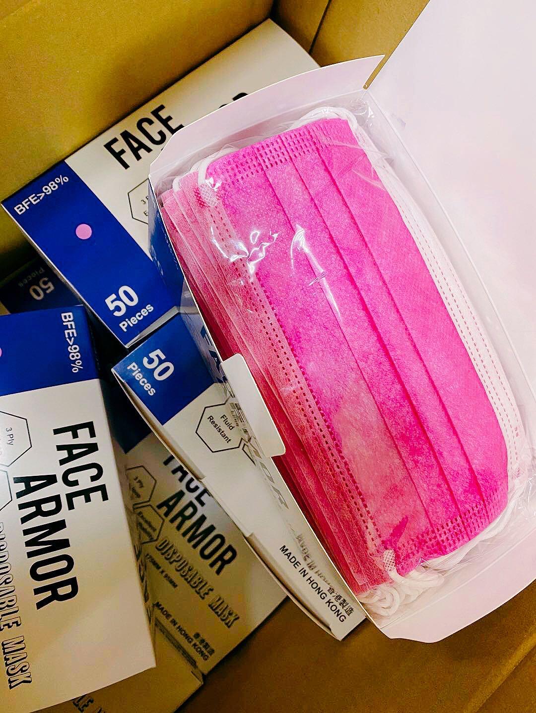 Face Armor Disposable Masks | ASTM LEVEL 3 | Made in Hong Kong| 50 PIECES | FUCHSIA