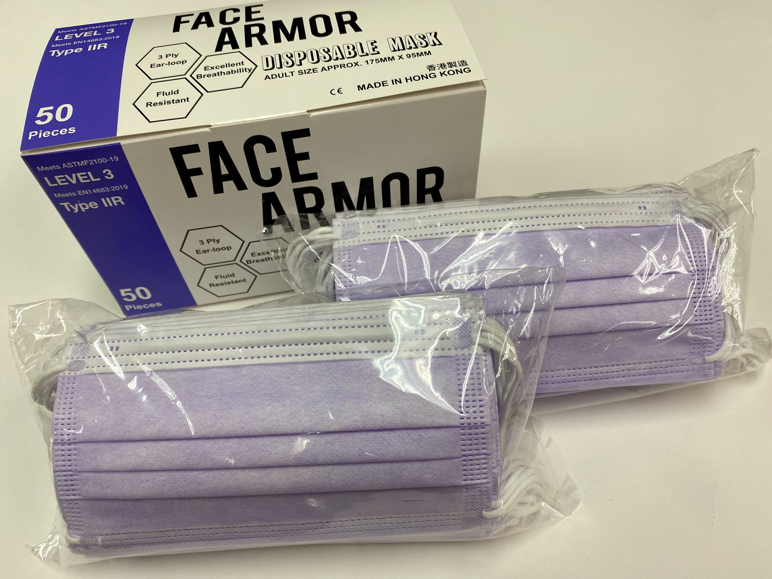Face Armor Disposable Masks | ASTM LEVEL 3 | Made in Hong Kong| 50 PIECES | LIGHT PURPLE