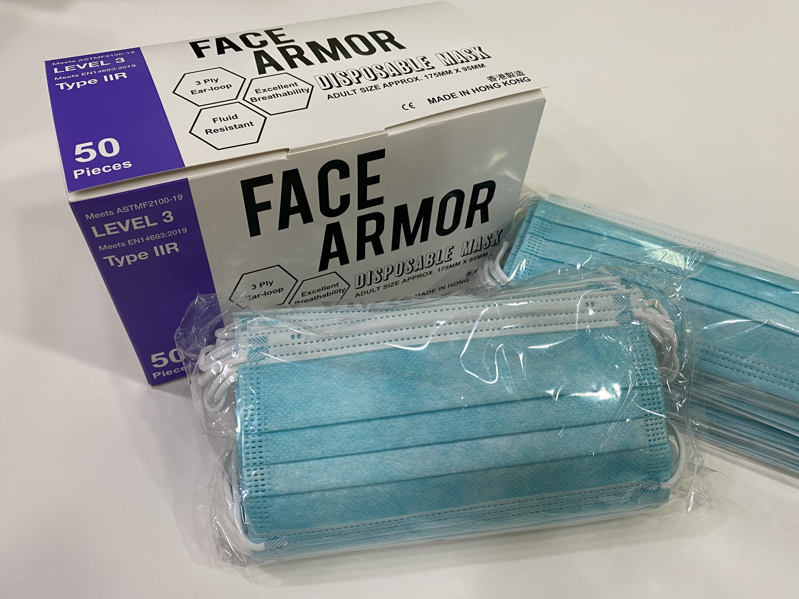Face Armor Disposable Masks | ASTM LEVEL 3 | Made in Hong Kong| 50 PIECES | LIGHT BLUE