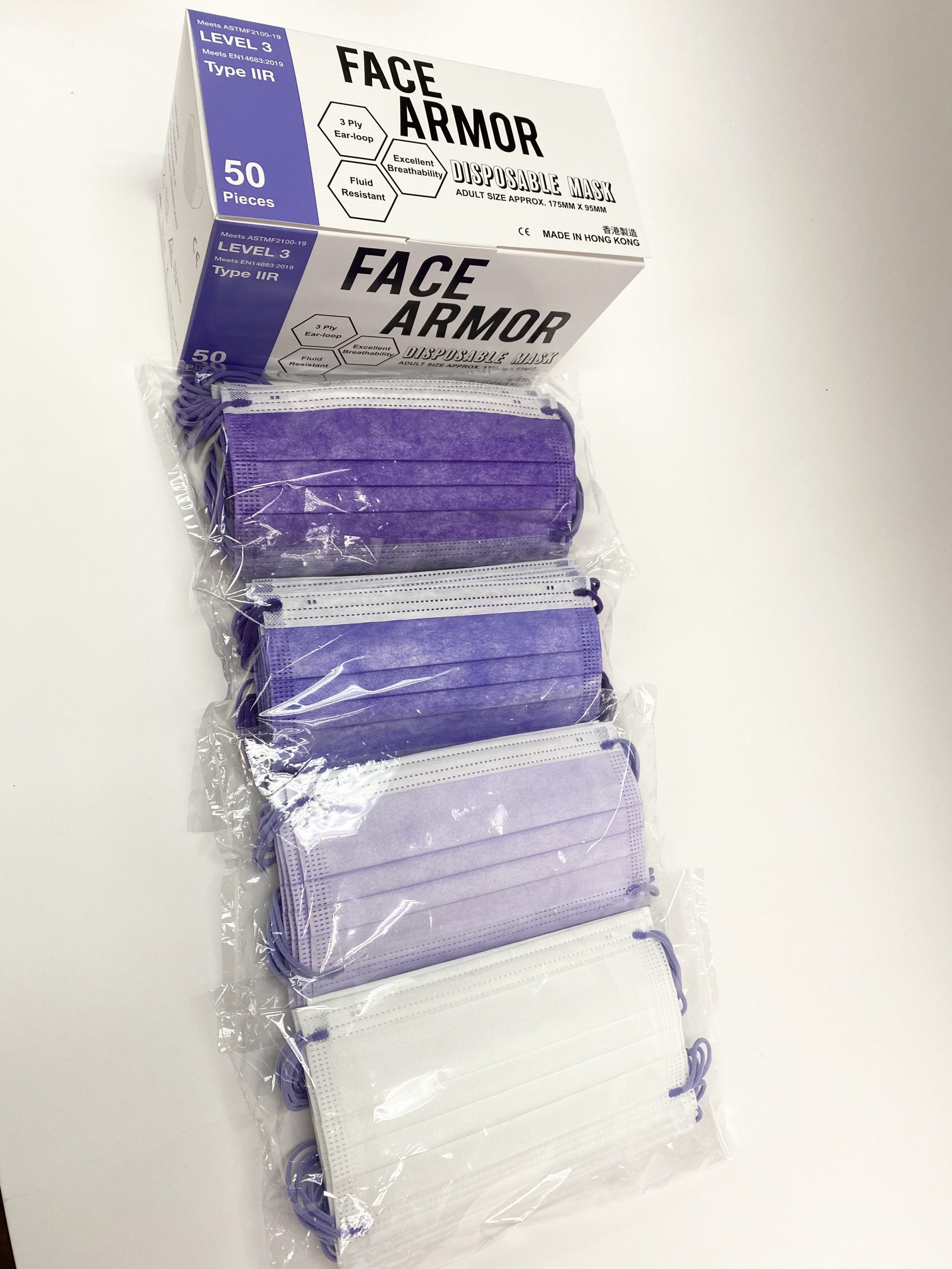 Face Armor Disposable Masks | ASTM LEVEL 3 | Made in Hong Kong| 50 PIECES | MIXED PURPLE