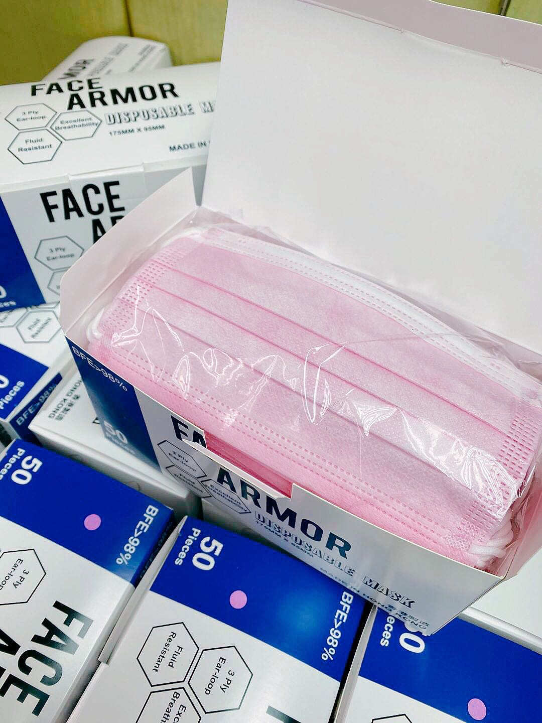 Face Armor Disposable Masks | ASTM LEVEL 3 | Made in Hong Kong| 50 PIECES | LIGHT PINK