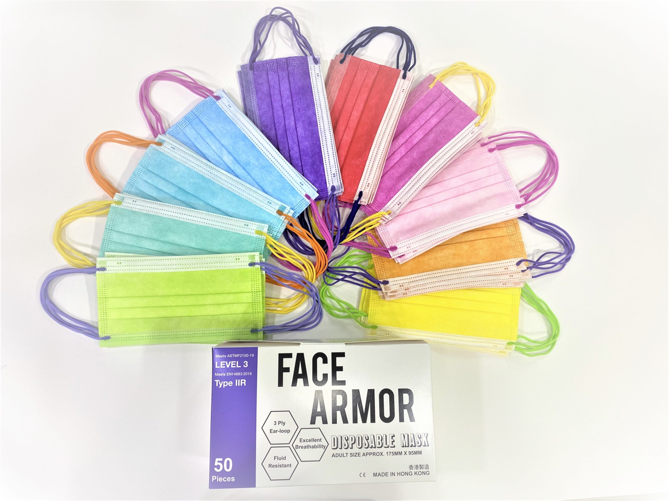 Face Armor Disposable Masks | ASTM LEVEL 3 | Made in Hong Kong| 50 PIECES | MIXED COLOR WITH RAINBOW EARLOOP (LIMITED EDITION)