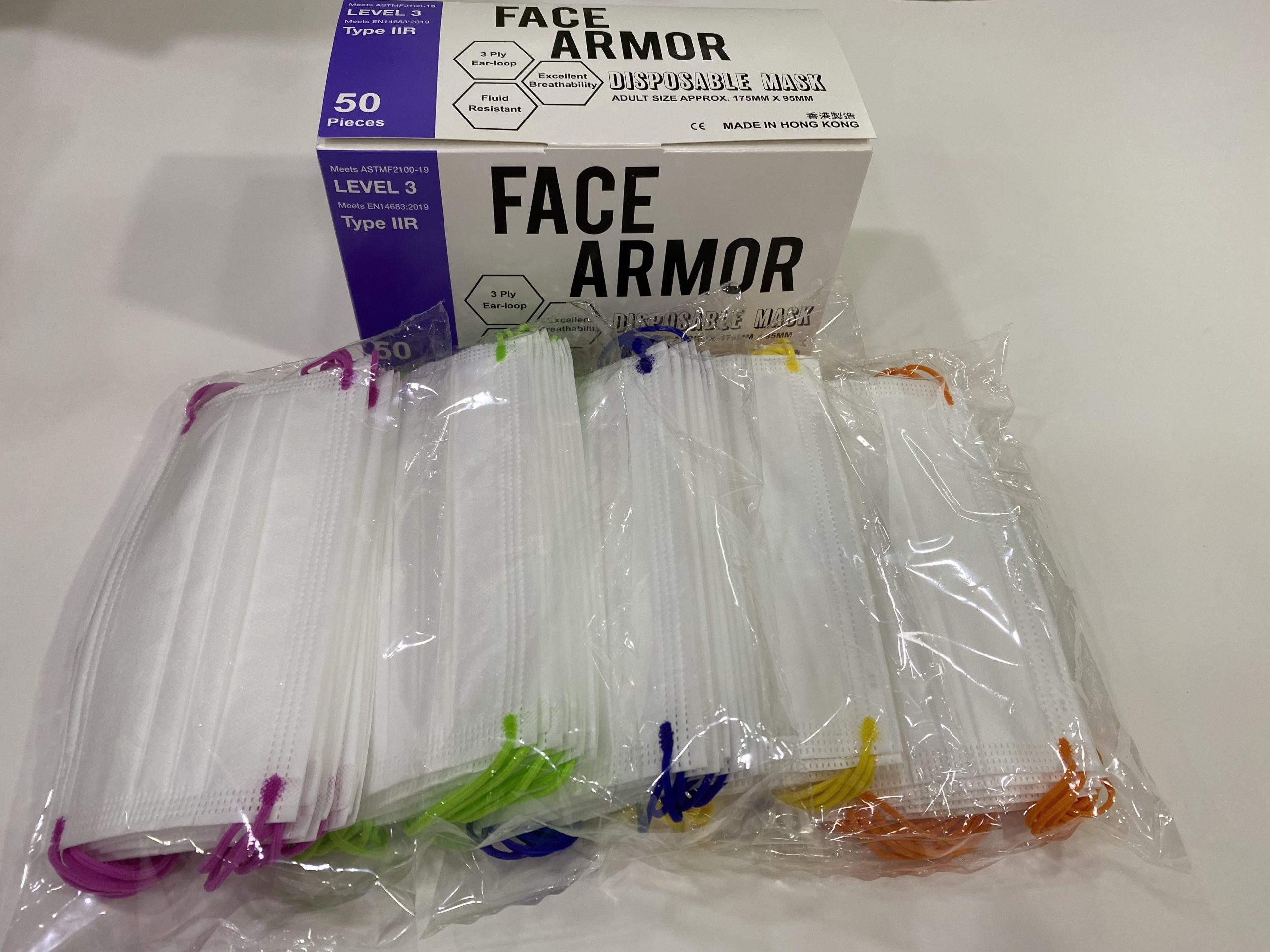 Face Armor Disposable Masks | ASTM LEVEL 3 | Made in Hong Kong| 50 PIECES | WHITE (MIXED COLOR EARLOOP)