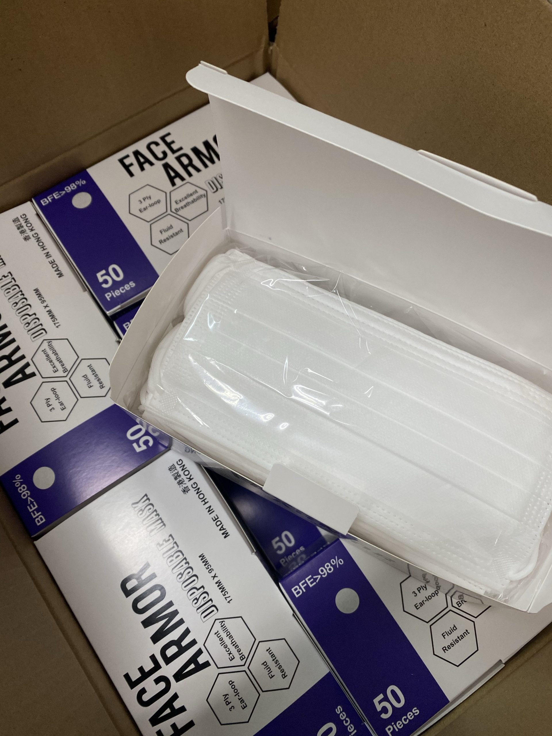 Face Armor Disposable Masks | ASTM LEVEL 3 | Made in Hong Kong| 50 PIECES | WHITE