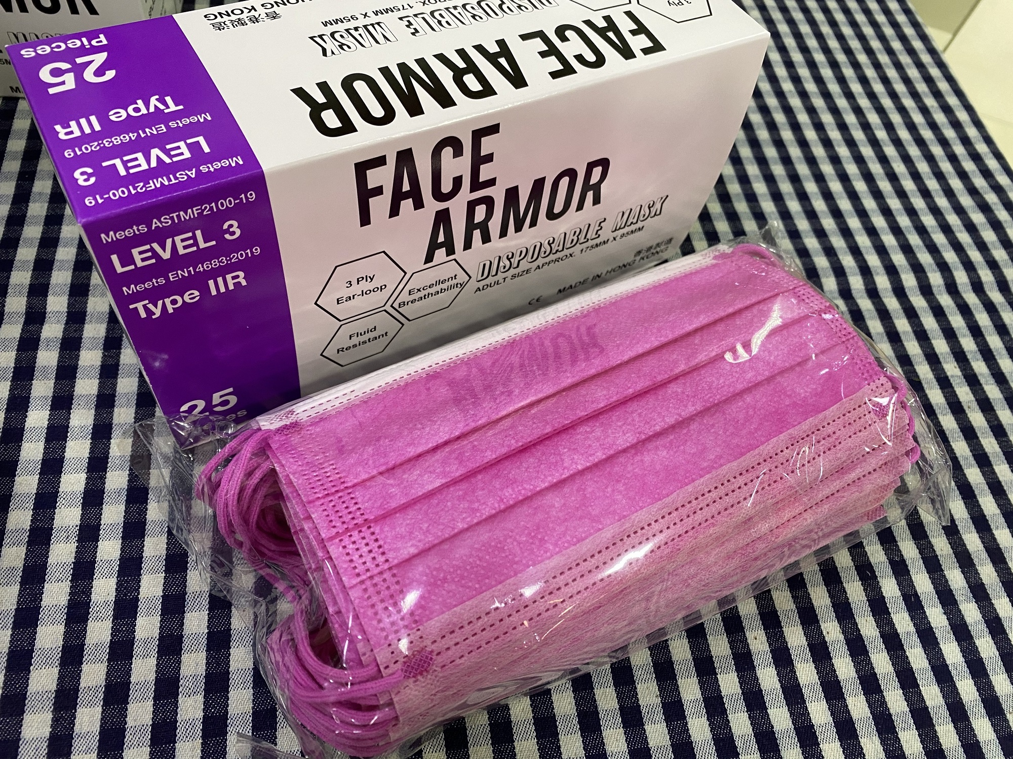 Face Armor Disposable Masks | ASTM LEVEL 3 | Made in Hong Kong| 25 PIECES | FUCHSIA W/ FUCHSIA EARLOOP