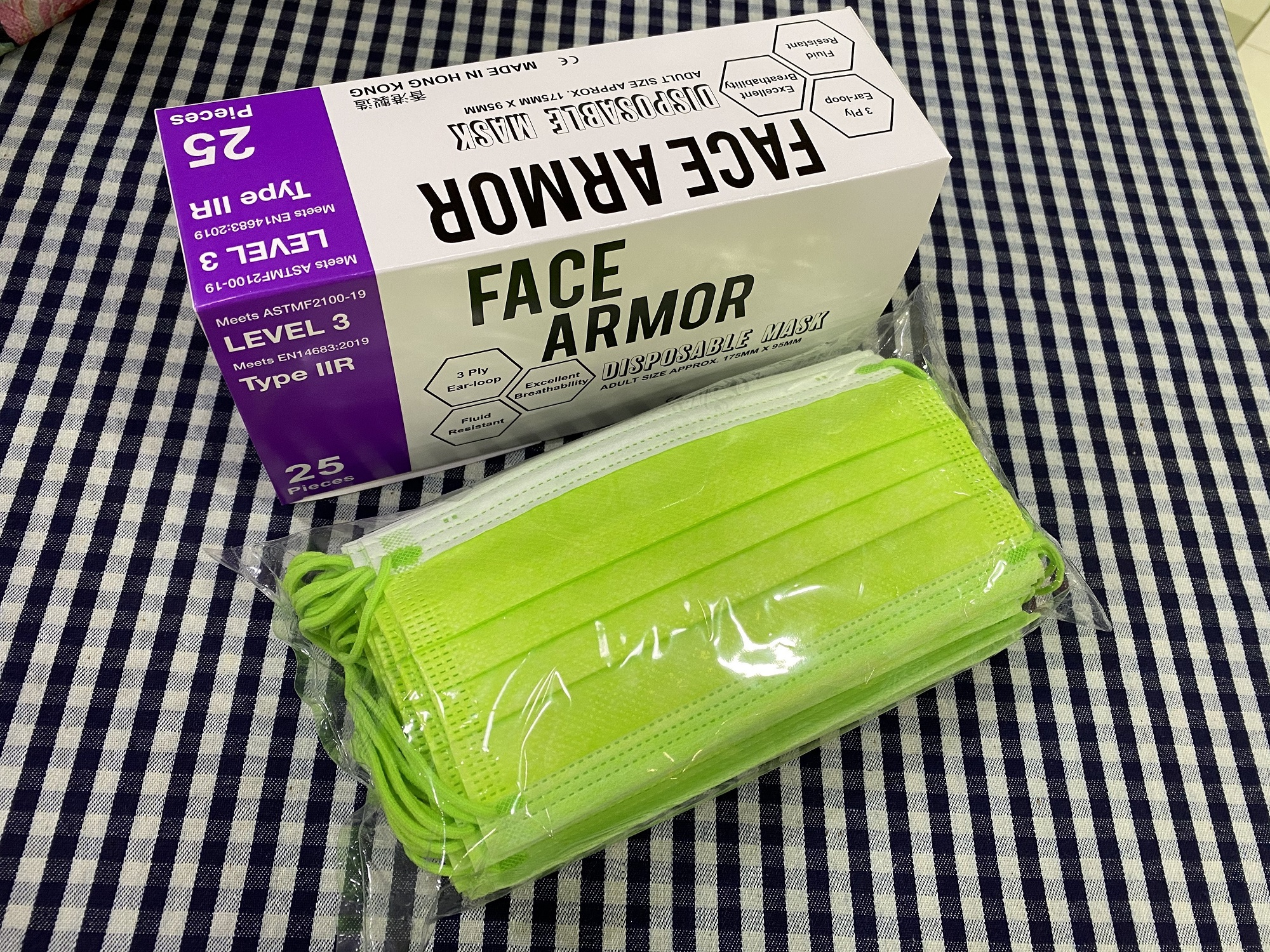 Face Armor Disposable Masks | ASTM LEVEL 3 | Made in Hong Kong| 25 PIECES | GREEN W/ GREEN EARLOOP