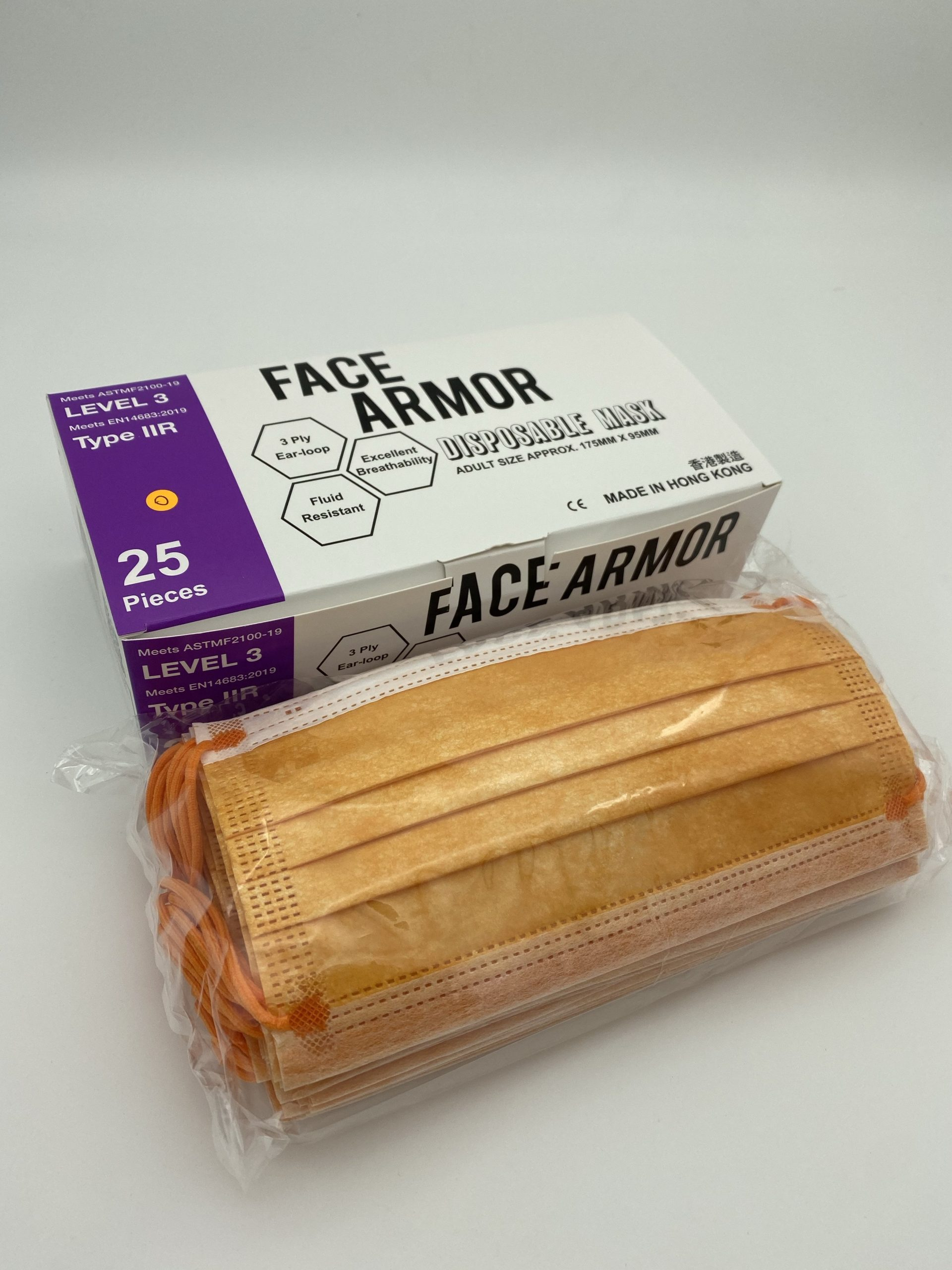 Face Armor Disposable Masks | ASTM LEVEL 3 | Made in Hong Kong| 25 PIECES | ORANGE W/ ORANGE EARLOOP