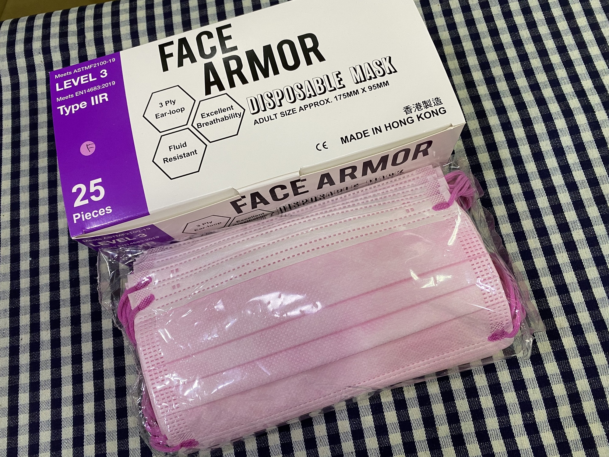 Face Armor Disposable Masks | ASTM LEVEL 3 | Made in Hong Kong| 25 PIECES | PINK W/ FUCHSIA EARLOOP