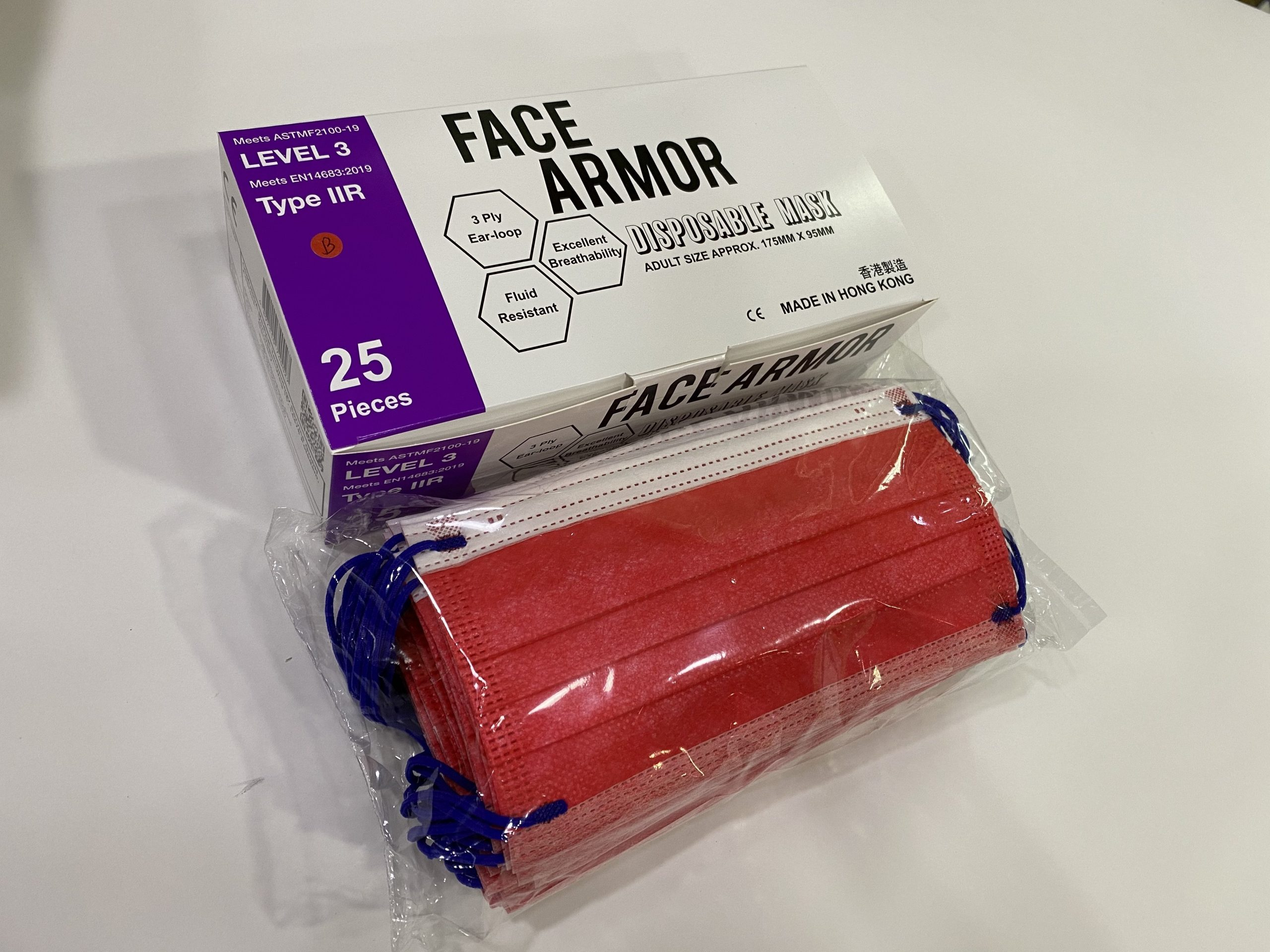 Face Armor Disposable Masks | ASTM LEVEL 3 | Made in Hong Kong| 25 PIECES | RED W/ BLUE EARLOOP